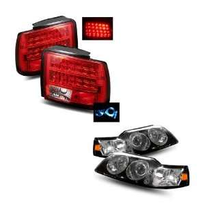 Mustang Black LED Halo Projector Headlights 1PC + LED Tail Lights