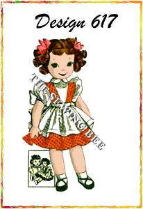 617 old rag girl DOLL & clothes Pattern vintage