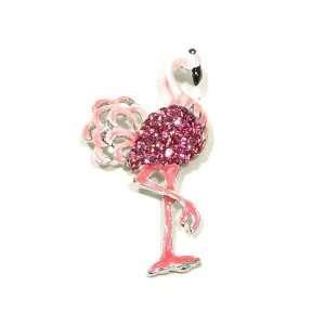 Austrian Rhinestone Flamingo Bird Silver Plated Brooch Pin Jewelry