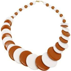 NCAA Burnt Orange White Escalating Wooden Bead Necklace