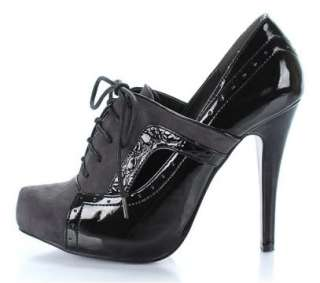 BLACK/GREY OXFORD LACE UP ANKLE BOOTS HIGH HEELS SHOES