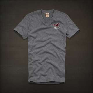 Hollister Men Heather grey Bay street V neck short sleeve T Shirt
