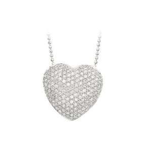 14K White Gold 1 ct. Pave Set Diamond Heart Necklace   16 Jewelry