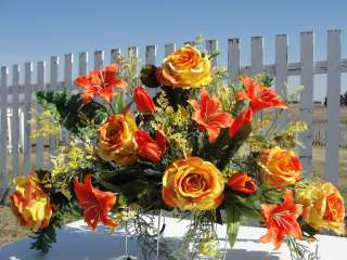 Fathers Day Grave Tombstone Saddle Orange Lilies Roses