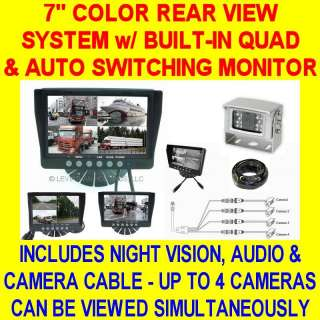 ONE CAMERA QUAD COLOR REAR VIEW BACKUP SYSTEM SAFETY CAR PICKUP