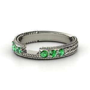Emerald Isle Matching Band, 14K White Gold Ring with Emerald Jewelry