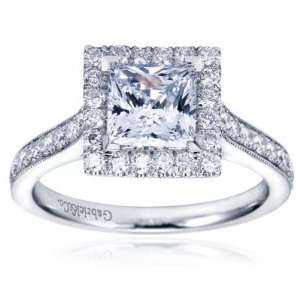 14K White Gold Contemporary Halo Engagement Ring   Does not Include