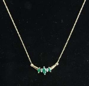 14K Gold Natural Emerald Diamond Chevron Pendant Chain Necklace