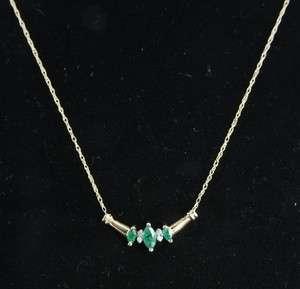 14K Gold Natural Emerald Diamond Chevron Pendant Chain Necklace |