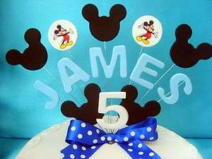Blue Mickey Mouse Birthday Cake Topper / any name & age