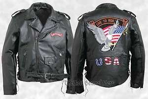 Buffalo Leather Motorcycle Jacket with Live to Ride and USA Patches