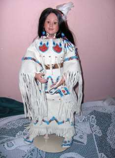 Native American Doll YELLOW MOON Judy Belle Box Stand