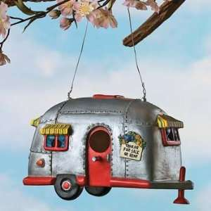 Camper Birdhouse Trailer Bird House Airstream style Rv Home Decor Yard