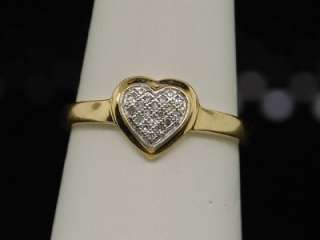 LADIES YG DIAMOND RING LOVE HEART ENGAGEMENT BAND PAVE