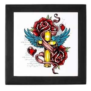 Keepsake Box Black Roses Cross Hearts And Angel Wings