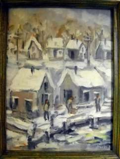ORIGINAL MID.CENT. WINTER SCENE OIL PAINTING * SIGNED & FRAMED