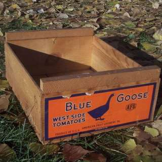 American Fruit Growers Label Blue Goose West Side Tomatoes AFG
