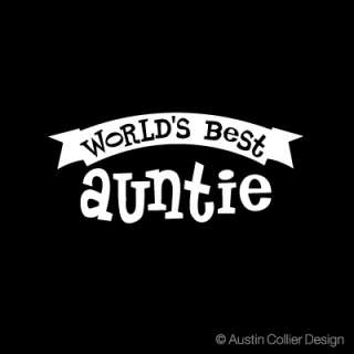 WORLDS BEST AUNTIE Vinyl Decal Car Window Sticker