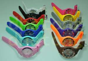 new colorful ice Calendar Wheel Silicone Jelly Date Wrist Watch