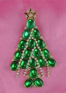 CRYSTAL RHINESTONE STRANDS GARLAND CHRISTMAS TREE PIN BROOCH