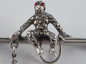 Antique Art Deco Sterling Silver Marcasite Monkeys Brooch 1920s