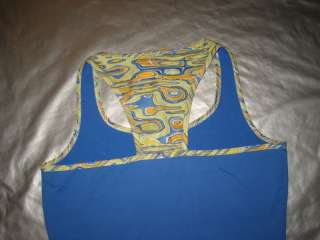 LBH STRETCH TANK TOP Exercise Tennis Shirt Blue LARGE