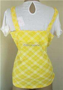 One Step Up Womens Plus Size Clothing 1X 2X 3X Yellow White T Shirt