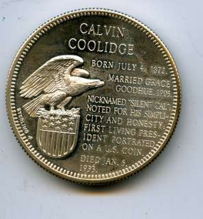 Calvin Coolidge STERLING silver coin / medallion EAGLE