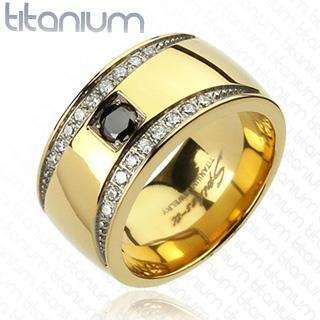 Titanium Luxury Mens Band w/IP Gold and Black CZ