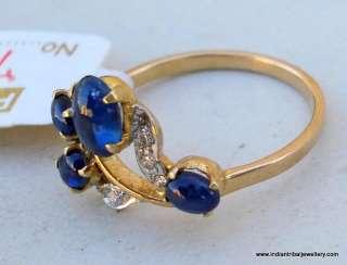 14k gold diamond blue sapphire gem stone ring india
