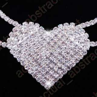 Free clear heart choker NECKLACE earring1SET RHINESTONE