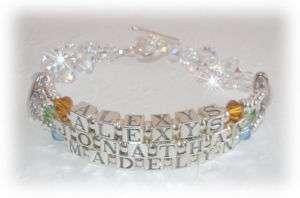 Swarovski Crystal Rock Candy Mothers 3 Names Bracelet