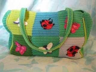 NWOTs Sak Crochet Butterfly Ladybug Shoulder Tote Purse Large Handbag