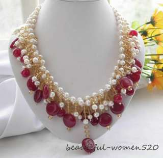 3row 8mm white round freshwater pearl red jade necklace