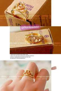 F006G Fashion lady girl crown finger ring gold
