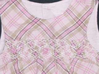 NEW CHILDRENS PLACE TCP PINK PLAID COVERALL JUMPER 3 6M