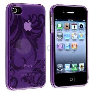 Clear Purple Flower TPU Rubber Skin Soft Gel Case Cover for iPhone 4 G