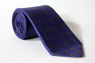 Vtg Brooks Brothers Navy Geometric Silk Necktie TIE