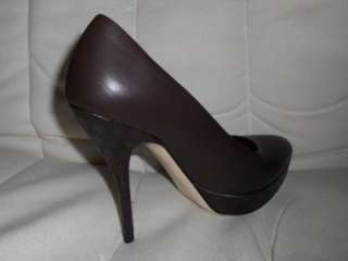 Leather Guccissima High Heel Open Toe Platform Pump Shoes Brown 36