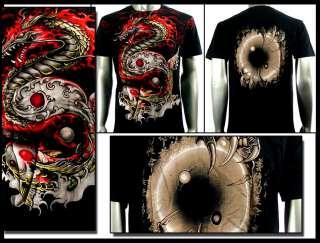 Artful Couture T Shirt Tattoo Dragon Koi Fish AB57 Sz M L XL XXL Heavy