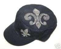 SAINTS FLEUR DE LIS RHINESTONE FLATTOP VINTAGE HAT CAP