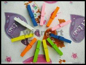 100pcs Small Wooden Clothespins Colorful Clip Style