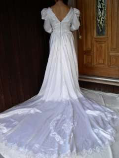 VINTAGE WOMAN BEIGE FORMAL GOWN BRIDAL WEDDING DRESS M