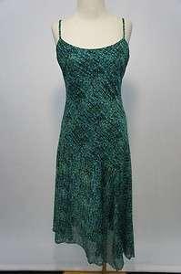 Jones Wear Green & Black Lined Spaghetti Strap Mid Calf Length Dress