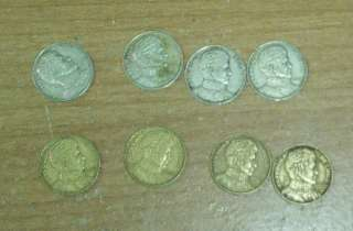 CHILE 1 PESO COINS LOT OF 8 1975 1979