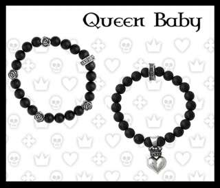 King QUEEN Baby Studio bracelet ONYX Roses 3D Heart 925