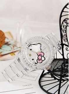 New HelloKitty lady fashion Crystal Stone Quartz Wrist watch W