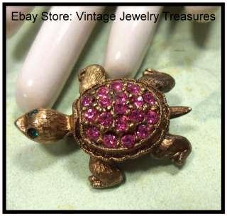Vintage Pink Rhinestone Gold Tone Petite Turtle Pin