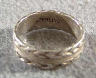 ANTIQUE SILVER ETCH DESIGN ETERNITY WEDDING BAND RING *