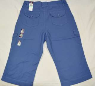 NEW Gloria Vanderbilt MAYA Cargo Capri Crop Pants Blue